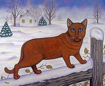 Cat In Christmas Landscape Art Print by Linda Mears