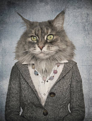 Cat In Clothes. Concept Graphic In Vintage Style.   Art Print