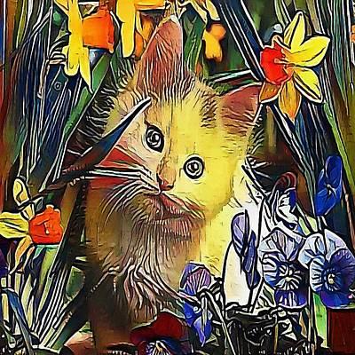 Purebred Digital Art - Cat In Flowers - My Www Vikinek-art.com by Viktor Lebeda