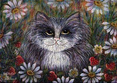 Cat In Garden Art Print by Natalie Holland