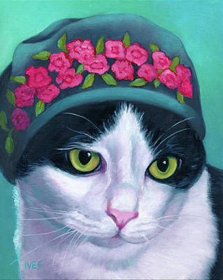 Painting - Cat in Hat Lovie by Rebecca Ives
