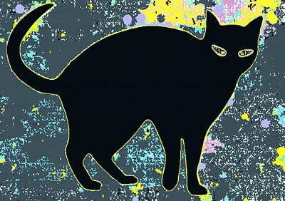 Digital Art - Cat In Night Garden by Joy McKenzie