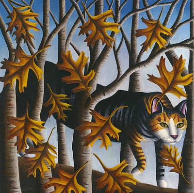 Oak Leaf Painting - Cat In Oak Leaves by Carol Wilson