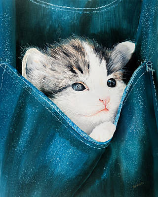 Painting - Cat In Pocket by Paul Cubeta