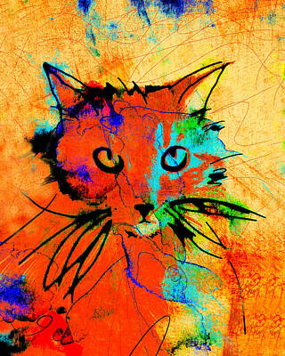 Cat In Red And Yellow Art Print by Ann Powell