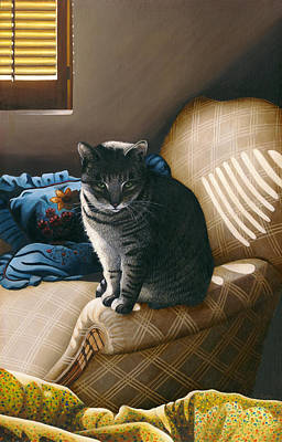 Tabby Cat Painting - Cat In Shadows by Carol Wilson