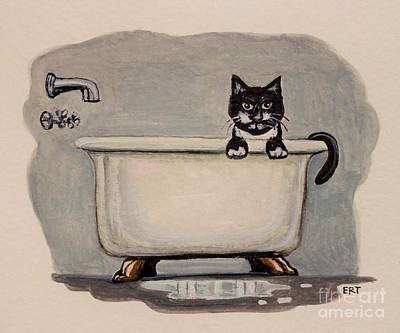 Cat In The Bathtub Art Print