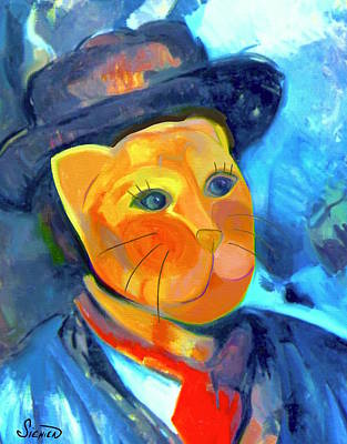 Multi Colored Painting - Cat In The Blue Smock by Patti Siehien