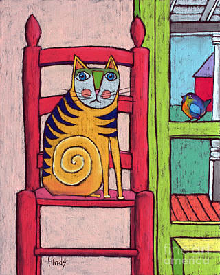 Self-taught Painting - Cat In The Chair by David Hinds