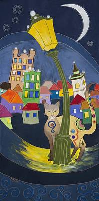 Night Lamp Painting - Cat In The City by Kinga Ile