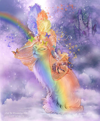 Rainbow Art Mixed Media - Cat In The Dreaming Hat by Carol Cavalaris