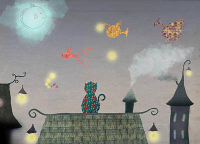 Cat In The Evening With Flying Fish And Stars Art Print by Sukilopi Art