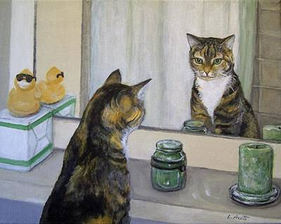 Sculpture - Cat In The Mirror by Laura Aceto