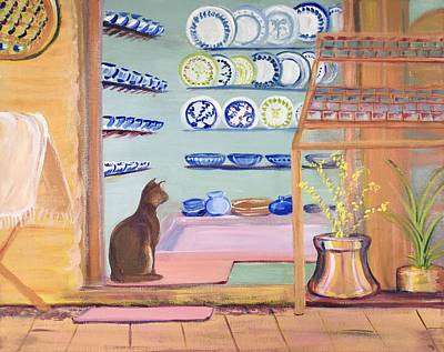 Painting - Cat In The Pottery Shop In Cyprus  by Susan E Brooks