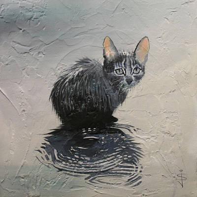 Cat In The Rain Art Print by Jan Szymczuk