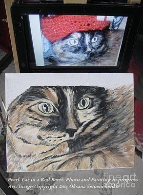 Painting - Cat In The Red Beret. Painting In Progress by Oksana Semenchenko