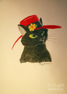 Drawing - Cat In The Red Hat by Wendy Coulson