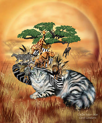 Tree Art Mixed Media - Cat In The Safari Hat by Carol Cavalaris