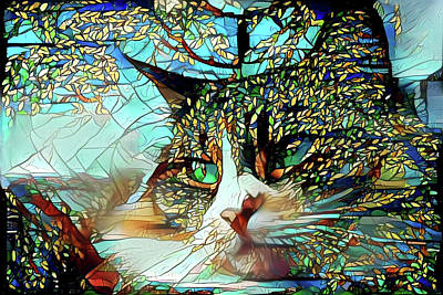 Digital Art - Cat In The Trees Abstract by Peggy Collins