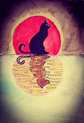 Painting - Cat by Jesus Nicolas Castanon