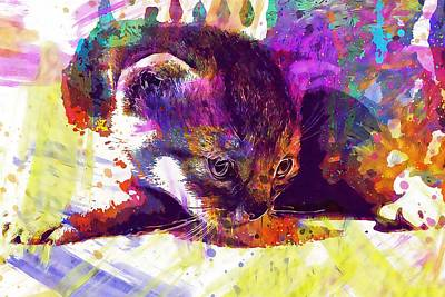 Digital Art - Cat Kitten Cat Baby Pet  by PixBreak Art
