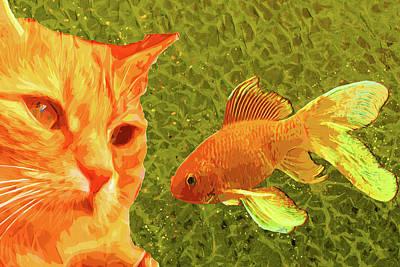Goldfish Digital Art - Cat Kittens And The Goldfish by Asif Zaman