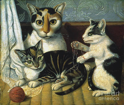 Folk Art Photograph - Cat & Kittens by Granger