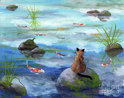 Japanese Garden Painting - Cat Koi And Turtle Among The Cloud Reflections by Laura Iverson