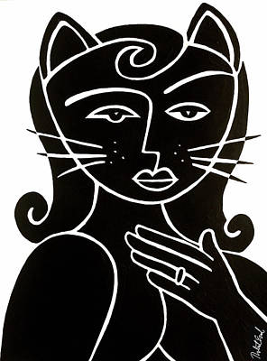 Painting - Cat Lady - Large Print By Robert Erod by Robert R Splashy Art Abstract Paintings