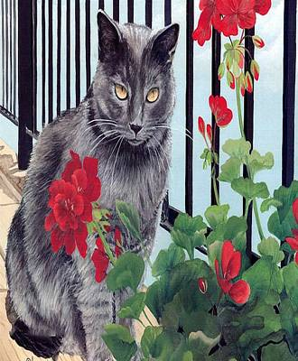 Painting - Cat Line Art And That Flower Is Mine  by Sheila Mcdonald