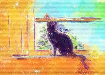 Digital Art - Cat Looking Out The Window by Nora Martinez