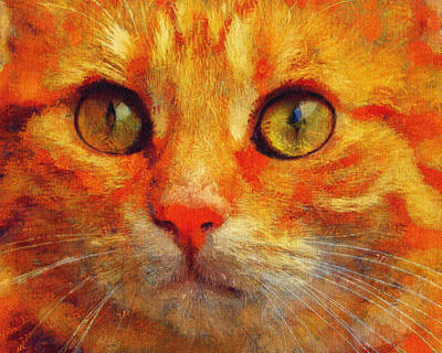 Painting - Cat Lover Art - Cute Orange Kitten Portrait by Wall Art Prints