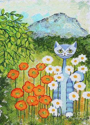 Painting - Cat Loves Nature by Jutta Maria Pusl