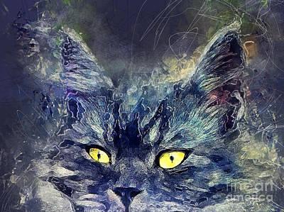 Cat Painting - Cat Luna by Justyna JBJart