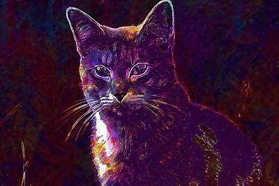 Digital Art - Cat Mieze Tiger Cat Breed Cat  by PixBreak Art
