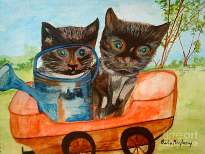 Painting - Cat Mischief by Paula Maybery