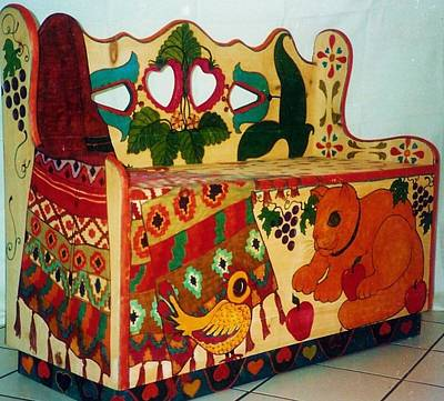 Decorative Benches Mixed Media - Cat N' Chick Bench by Rae Chichilnitsky