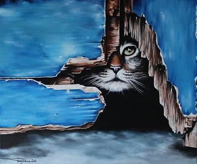 Brunch Painting - Cat N.1 by Rebecca Tecla