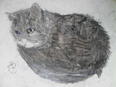 Mixed Media - Cat Named Shrimp by AJ Brown