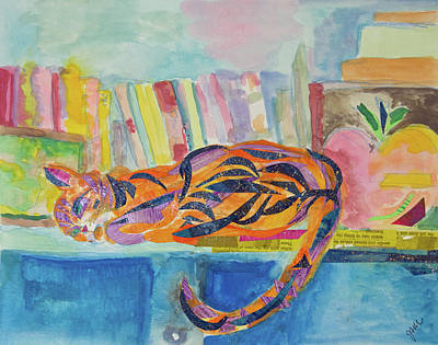 Mixed Media - Cat Nap by Paper Jewels By Julia Malakoff