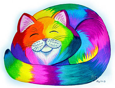 Animals Drawings - Cat Napping by Nick Gustafson