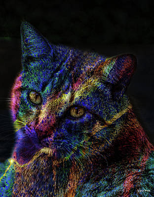 Mixed Media - Cat Of Many Colors by Lesa Fine