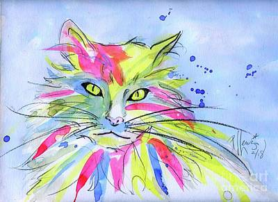 Painting - Cat Of Many Colors by PJ Lewis