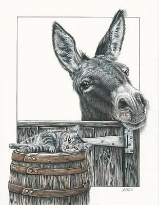 Drawing - Cat On A Barrel by Katie McConnachie