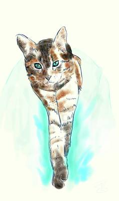 Digital Art - Cat On A Lap by Debra Baldwin