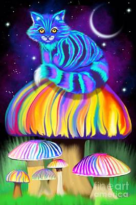 Digital Art - Cat On A Mushroom by Nick Gustafson
