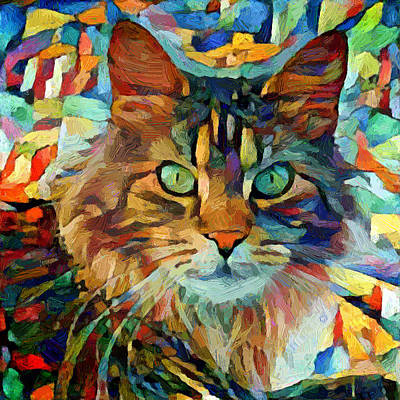 Digital Art - Cat On Colors by Yury Malkov