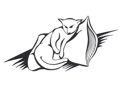Art Print featuring the drawing Cat On Pillow by Keith A Link