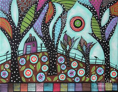 Abstract Pattern Painting - Cat On Post by Karla Gerard