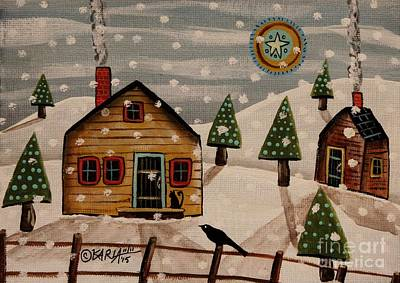 Winter Cabin Painting - Cat On Stoop by Karla Gerard